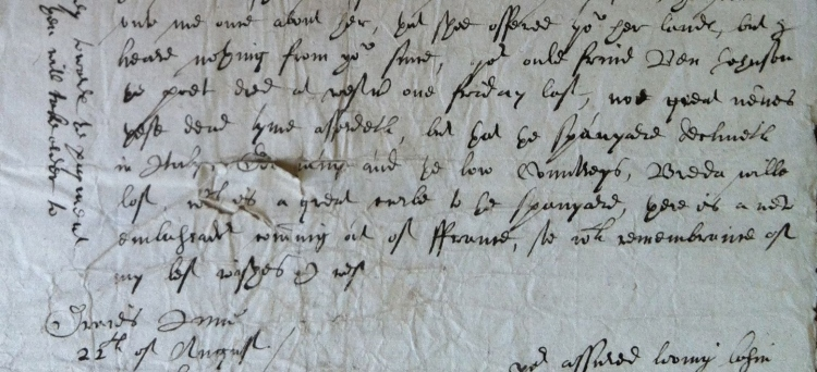 Simon Thelwall's note of Jonson's death - (Flintshire Record Office, Rhual MS, D.HE.457 - detail)